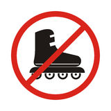 Aucune icône de signe de patins de rouleau Fait du roller le symbole Interdiction rouge Image stock