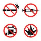 Aucune icônes de drogues réglées Photographie stock libre de droits