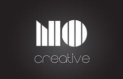 AUCUNE lettre Logo Design With White de N O et lignes noires Images libres de droits