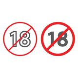 Aucune ligne 18 et icône plus de glyph, interdite et interdiction, signe de restriction d'âge, graphiques de vecteur, un modèle l illustration stock
