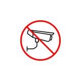 Aucune ligne icône, aucune interdiction de surveillance d'appareil-photo illustration libre de droits
