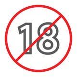 Aucune 18 ligne plus icône, interdite et interdiction, signe de restriction d'âge, graphiques de vecteur, un modèle linéaire sur  illustration de vecteur