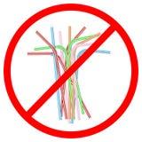 Aucune paille à boire en plastique Photographie stock libre de droits