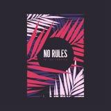 Aucune règles dans la conception graphique de T-shirt d'été de tropiques Illustration de vecteur illustration stock