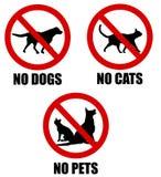 Aucuns animaux familiers permis les signes interdits Image stock