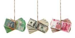 AUD, RMB, USD 免版税库存照片