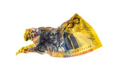 50 AUD That gets heat from the iron. Deplorable, Australian dollar banknotes 50 AUD That gets heat from the iron until wrinkled unable to use by improvident royalty free stock photography