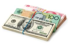 AUD, RMB, USD. On white background Royalty Free Stock Photos