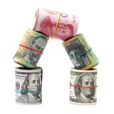 AUD, RMB, USD. On white background