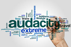 Audacity word cloud concept on grey background Stock Photos