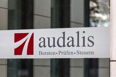 Audalis sign in cologne germany stock photography