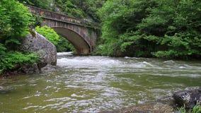 Aude ström och bro i Pyrenean, Frankrike lager videofilmer