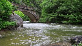 Aude strumień i most w Pyrenean, Francja zdjęcie wideo