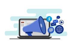 Audiência de escolha de objetivos com a propaganda digital, marcando, e mercado digital dos meios, conceito do vetor com ícones Foto de Stock Royalty Free