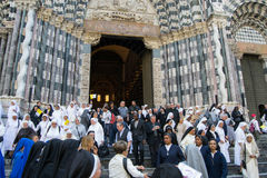 A audiência para o discurso do papa Francis fotografia de stock