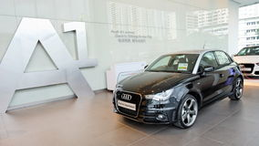 Audi A1 hatchback on display at Audi Centre Singapore Royalty Free Stock Photos