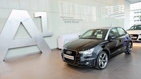 Audi A1 hatchback na pokazie przy Audi Centre Singapur zdjęcia royalty free