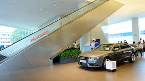 Audi A5 sportback and interior of Audi Centre Singapore Royalty Free Stock Photography