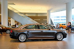 Audi A8 luxury limousine on display at Audi Centre Singapore Stock Images