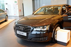 Audi A8 luxury limousine on display at Audi Centre Singapore Stock Image