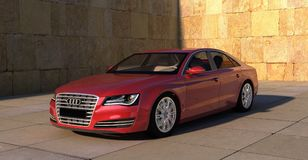 Audi, A8, In Red, Sports Car, Auto Royalty Free Stock Images