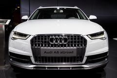 Audi A6 Allroad car. BRUSSELS - JAN 12, 2016: Audi A6 Allroad car showcased at the Brussels Motor Show royalty free stock photo