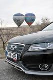 Audi a4 allroad photo shoot and cappadocia balloon in nevsehir Turkey. Audi a4 allroad photo shoot with cappadocia balloons and badlands in Nevsehir Turkey royalty free stock images