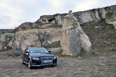 Audi a4 allroad photo shoot and cappadocia fairy chimneys in nevsehir Turkey. Audi a4 allroad photo shoot with cappadocia fairy chimneys and badlands in Nevsehir stock photos