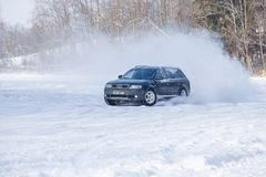 Audi allroad at winter. Travel photo. Cesis, Latvia, Frozzen lake and Audi allroad. Ice and cold, power and speed. Travel photo 2018 stock photo