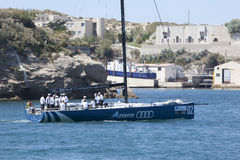 Audi Azzura sailing team leaving Marseille harbor Stock Photos