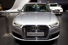 Audi A6 Berline car. BRUSSELS - JAN 12, 2016: Audi A6 Berline car showcased at the Brussels Motor Show Royalty Free Stock Images