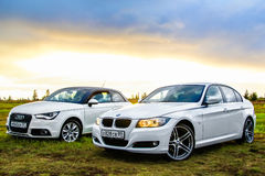 Audi A1 and BMW E90 318i Royalty Free Stock Image