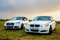 Audi A1 and BMW E90 318i Royalty Free Stock Photos