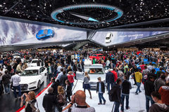 Audi booth at the IAA 2015. FRANKFURT, GERMANY - SEP 22: Crowded Audi booth at the IAA International Motor Show 2015. September 22, 2015 in Frankfurt Main Royalty Free Stock Image