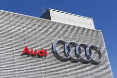 Audi building car dealer. Lyon, France - July 3, 2016: Audi building. Audi is a German automobile manufacturer that designs, engineers, produces, markets and Stock Photography