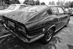 The Audi 100 (C1) Coupe S, rear view, (black and white) Stock Image
