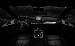 Audi Car Interior With Lcd Car Stereo Royalty Free Stock Photos