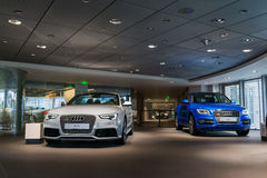 Audi cars for sale. Audi cars in showroom for sale Royalty Free Stock Image