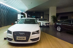 Audi cars for sale. Audi cars in showroom for sale Royalty Free Stock Photography