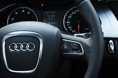 Audi a4 cockpit and steering wheel stock photography