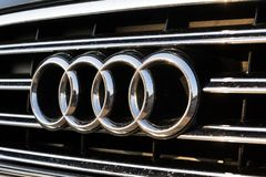 Audi company logo on car. PRAGUE, CZECH REPUBLIC - MARCH 25 2018: Audi company logo on car on March 25, 2018 in Prague, Czech Republic Royalty Free Stock Photo