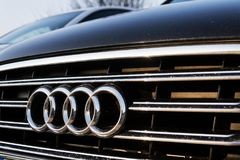 Audi company logo on car. PRAGUE, CZECH REPUBLIC - MARCH 25 2018: Audi company logo on car on March 25, 2018 in Prague, Czech Republic Stock Images
