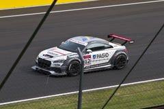 Audi DTM car in race. Hungary, Mogyorod - September 25, 2016: Audi DTM car in race on the racetrack in Hungaroring in Mogyorod stock photos