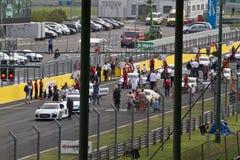 Audi DTM car race start. Hungary, Mogyorod - September 25, 2016: Audi DTM car race start in Hungaroring in Mogyorod royalty free stock photo