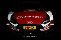 Audi DTM. A 2018 Audi RS4 parked in the garage at Brands Hatch ready for the race weekend stock images