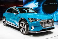 Audi E-Tron first all-electric SUV car. PARIS - OCT 3, 2018: Audi E-Tron first all-electric SUV car presented at the Paris Motor Show stock images