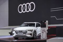 Audi e tron GT on display in Motor Show 2019 stock photos