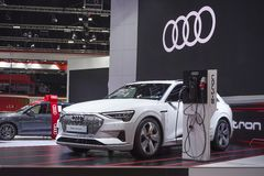 Audi e-tron GT electronic vehicle for save environment concept car on display in 40th Bangkok International Motor Show 2019 at Tha royalty free stock images
