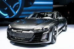 Audi E-Tron GT. Geneva, Switzerland - March 10, 2019: All-electric sports car Audi E-Tron GT presented at the annual Geneva International Motor Show 2019 royalty free stock photo