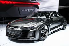 Audi E-Tron GT. Geneva, Switzerland - March 10, 2019: Electric car Audi E-Tron GT presented at the annual Geneva International Motor Show 2019 royalty free stock photo